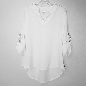 Tops - Flowy V-neck Adjustable Sleeves White Blouse